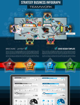 websit: Infograph Brochure template with hand drawn sketches and a lot of infographic design elements and mockups. Ideal forTeamwork ideas, branstorming sessions and generic business plan presentationsl. Illustration