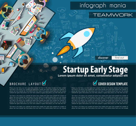 Startup Landing Page Brochure template with hand drawn sketches and a lot of infographic design elements and mockups. Ideal forTeamwork ideas, branstorming sessions and generic business plan presentationsl.