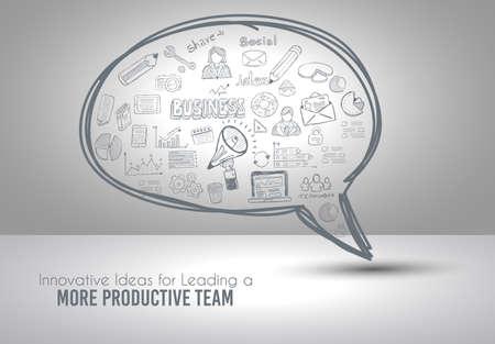 Infograph Bubble Speech-sjabloon met hand getrokken schetsen en een heleboel infographic designelementen en mockups. Ideaal voor ideeën voor teamwork, verzamel sessies en generieke businessplanpresentatiesl.