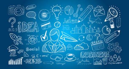 Infograph Ensemble de croquis dessinés à la main et beaucoup d'éléments et de maquettes de conception infographique. Idéal idées de forTeamwork, sessions branstorming et générique plan d'affaires presentationsl.