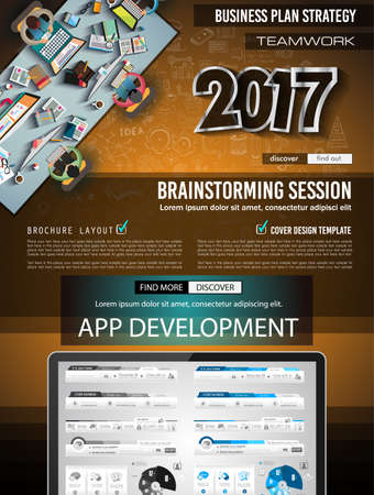 smartphone business: Infograph Brochure template with hand drawn sketches and a lot of infographic design elements and mockups. Ideal forTeamwork ideas, branstorming sessions and generic business plan presentationsl. Illustration