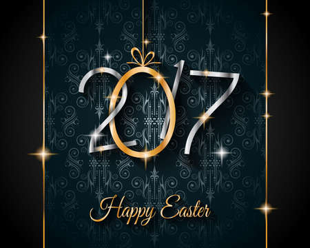 festive: Happy 2017 Easter modern and elegant background with a Golden egg and metal effect lettering. Ideal for flyers, banners, depliant, invitation and generic seasonal wallpapers Illustration