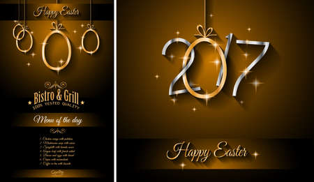 Restaurant Meny template for 2017 Easter celebration with a Golden egg and metal effect lettering. Also ideal for flyers, banners, depliant, invitation and generic seasonal wallpapers