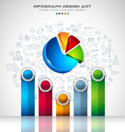 sketch: Infograph Brochure template with a lot of choices and a lot of infographic design elements and mockups. Teamwork ideas, branstorming sessions and generic business plan presentationsl.