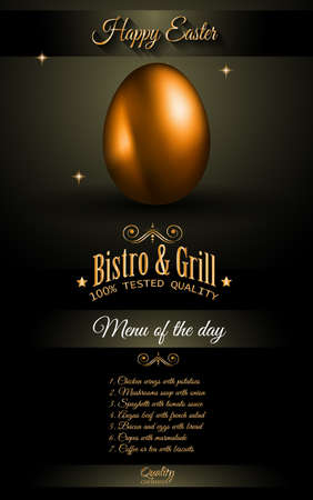 textured backgrounds: Restaurant Menu template for 2017 Easter celebration with a Golden egg and metal effect lettering. Also ideal for flyers, banners, depliant, invitation and generic seasonal wallpapers Illustration