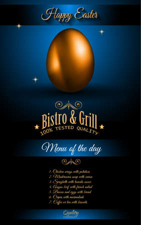 traditional pattern: Restaurant Menu template for 2017 Easter celebration with a Golden egg and metal effect lettering. Also ideal for flyers, banners, depliant, invitation and generic seasonal wallpapers Illustration