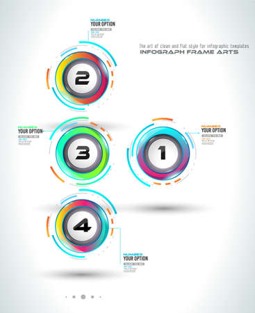 marketing online: Infograph template with multiple choices and a lot of infographic design elements and mockups.