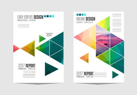 Modelo del folleto, Diseño de Flyer o cubierta Depliant para la presentación de negocios y portadas de revistas. Ilustración de vector
