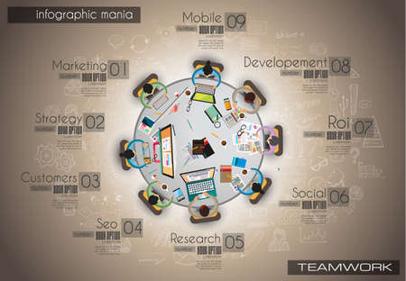 marketing concept: Infograph background template with a temworking brainstorming table with infographic design elements and mockups and hand drawn sketches of technology items.