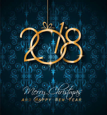 festive: 2018 Happy New Year Background for your Seasonal Flyers and Greetings Card or Christmas themed invitations