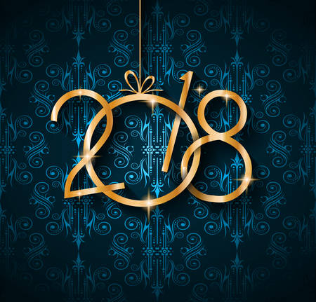 modern background: 2018 Happy New Year Background for your Seasonal Flyers and Greetings Card or Christmas themed invitations