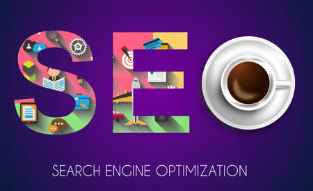 smartphone apps: SEO Search engine optimization concept with Flat design and a lot of icons behind.
