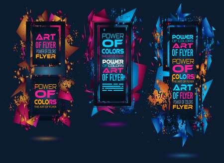 modern background: Futuristic Frame Art Design with Abstract shapes and drops of colors behind the space for text. Modern Artistic flyer or party thai background. Illustration