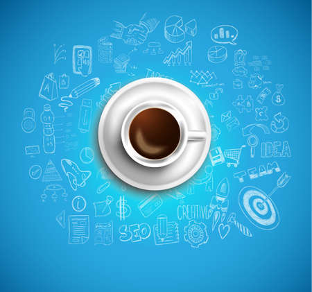 Infograph background template with a fresh coffee on table with infographic design elements and mockups and hand drawn sketches of technology items.