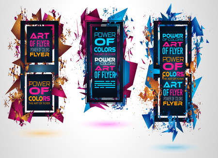logo music: Futuristic Frame Art Design with Abstract shapes and drops of colors behind the space for text. Modern Artistic flyer or party thai background. Illustration