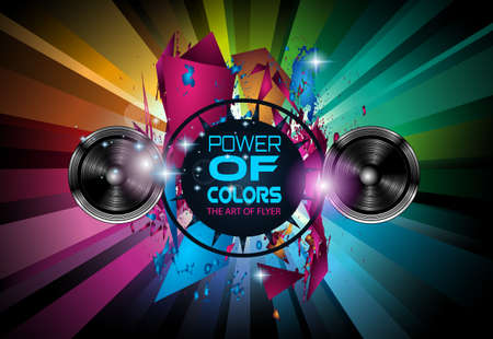 music: Disco Dance Art Design Poster with Abstract shapes and drops of colors behind the space for text. Modern Artistic flyer or party thai background.