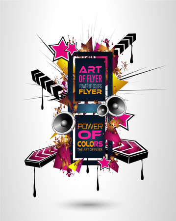 Disco Dance Art Design Poster with Abstract shapes and drops of colors behind the space for text. Modern Artistic flyer or party thai background.