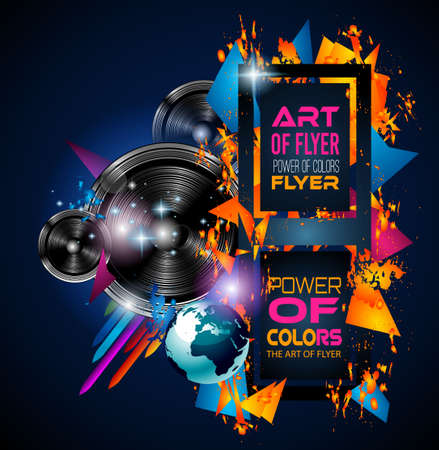 rainbow abstract: Disco Dance Art Design Poster with Abstract shapes and drops of colors behind the space for text. Modern Artistic flyer or party thai background.