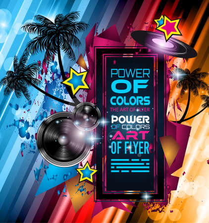 space for text: Disco Dance Art Design Poster with Abstract shapes and drops of colors behind the space for text. Modern Artistic flyer or party thai background.