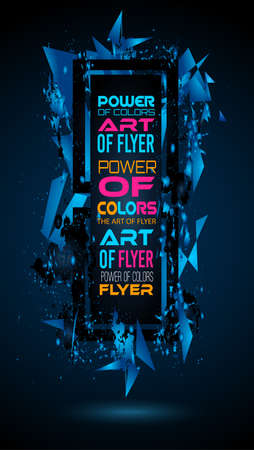 rainbow abstract: Futuristic Frame Art Design with Abstract shapes and drops of colors behind the space for text. Modern Artistic flyer or party thai background. Illustration