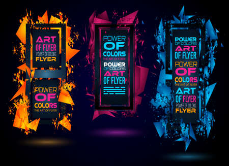 box: Futuristic Frame Art Design with Abstract shapes and drops of colors behind the space for text. Modern Artistic flyer or party thai background. Illustration