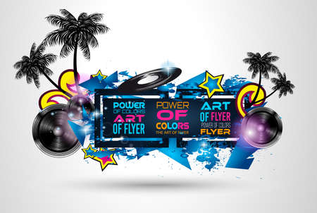 modern background: Disco Dance Art Design Poster with Abstract shapes and drops of colors behind the space for text. Modern Artistic flyer or party thai background.