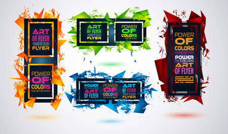Futuristic Frame Art Design with Abstract shapes and drops of colors behind the space for text. Modern Artistic flyer or party thai background. Illustration