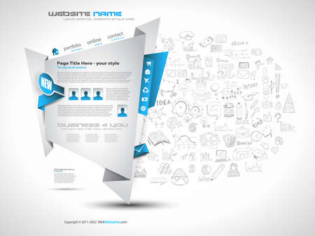 modern background: Modern Style Origami Web Template Design with Infographic design elements on the background made by hand drawn sketches.