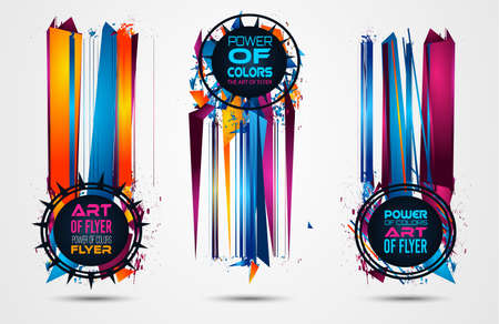 Futuristic Frame Art Design with Abstract shapes and drops of colors behind the space for text. Modern Artistic flyer or party thai background. Stock Photo