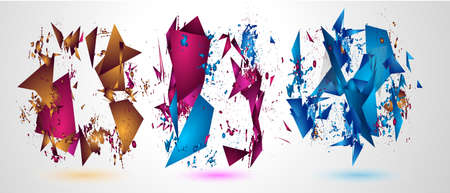decoration: Futuristic Frame Art Design with Abstract shapes and drops of colors behind the space for text. Modern Artistic flyer or party thai background. Stock Photo