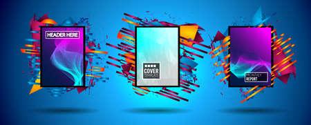 Diseño futurista del arte del capítulo con las formas y las gotas abstractas de colores detrás del espacio para el texto. Fondo moderno tailandés del aviador o del partido artístico.