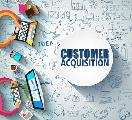 Customer acquisition concept with doodle design style.