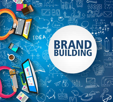 Brand Building concept with Business Doodle design style: company image study, skill testing,best solutions. Modern style illustration for web banners, brochure and flyers. Illustration
