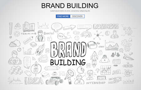 consumerism: Brand building concept with business doodle design style.