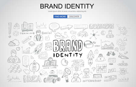 Brand identity concept with business doodle design style.