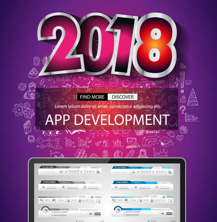 mobile marketing: 2018 New Year infographic and business plan background with hand drawn sketch graphics. Illustration