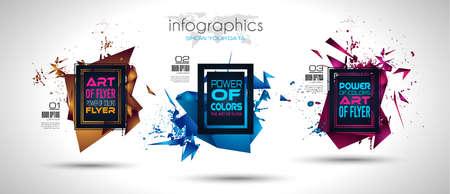 Diseño futurista del arte del capítulo con las formas y las gotas abstractas de colores detrás del espacio para el texto. Fondo moderno tailandés del aviador o del partido artístico. Foto de archivo - 88315320