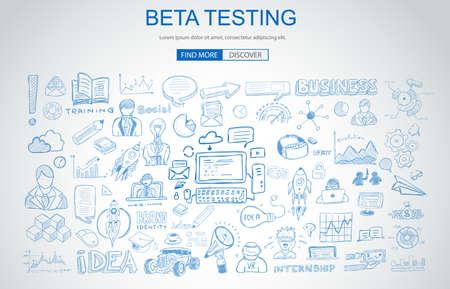 Beta-testconcept met Business Doodle-ontwerpstijl: online publiek, testgroepen, testfasen. Moderne stijl illustratie voor webbanners, brochure en flyers.