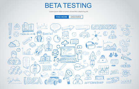 Beta Testing concept with Business Doodle design style: online audience, tester groups,test phases. Modern style illustration for web banners, brochure and flyers. Stock Photo