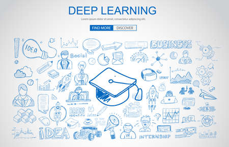 Deep Learning concept with Business Doodle design style: online formation, AI webinars, neural nets. Modern style illustration for web banners, brochure and flyers.