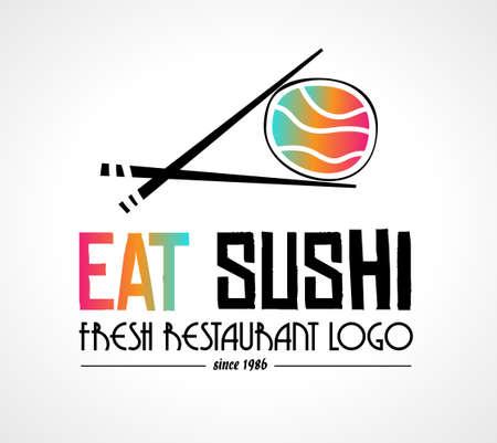 Création de logo style Sushi Restaurant pour la conception de marque d'entreprise alimentaire ou des dépliants