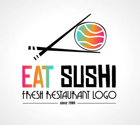 Sushi Restaurant flat style logo design for food company brand design or flyers