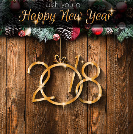 2018 Happy New Year and  Merry Christmas Frame with Snow and real wood green pine Imagens