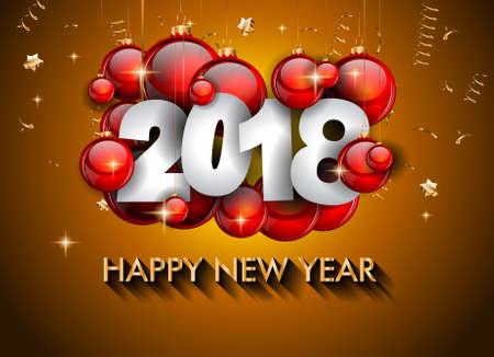 2018 Antecedentes feliz año nuevo para su tarjeta de volantes y saludos estacionales o Navidad invitaciones temáticas Ilustración de vector