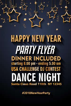 2018 Happy New Year tła dla Flyers sezonowe i pozdrowienia karty lub zaproszenia Christmas tematyczne