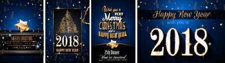 2018 Gelukkig Nieuwjaar Achtergrond voor uw Seasonal Flyers en wenskaart of kerst thema uitnodigingen