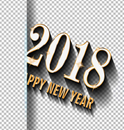 2018 Happy New Year design for your Seasonal Flyers and Greetings Card or Christmas themed invitations ready to use on whatever background. Illustration