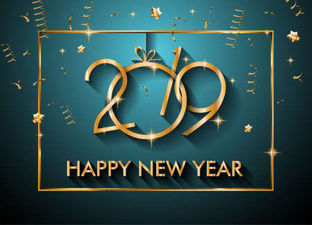 2019 Feliz Ano Novo Fundo para o seu Folhetos Sazonais e convites de cartão de cumprimentos ou temáticos de Natal Ilustración de vector