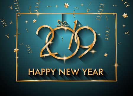 2019 Gelukkige Nieuwjaarachtergrond voor uw Seizoengebonden Vliegers en van Groetenkaart of van Kerstmis themed uitnodigingen Stock Illustratie