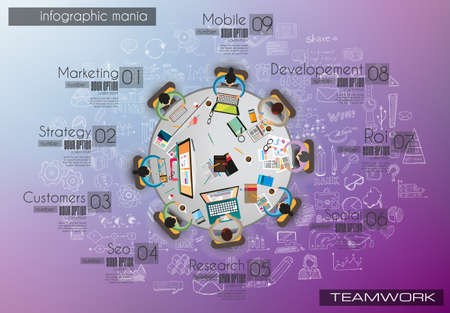 Infograph background template with a temworking brainstorming table with infographic design elements and mockups and hand drawn sketches of technology items.